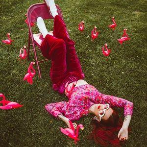 Hot Pink Velvet Belted Pants